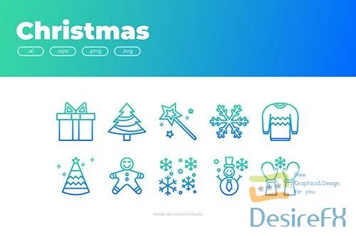 Vector 30 Christmas Icons - GRADIENT QB2YFWD
