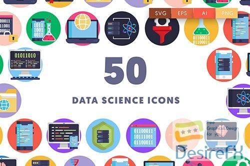 Vector 50 Data Science Icons 99WFV56
