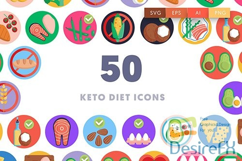 Vector 50 Keto Diet Icons AKGWNVB