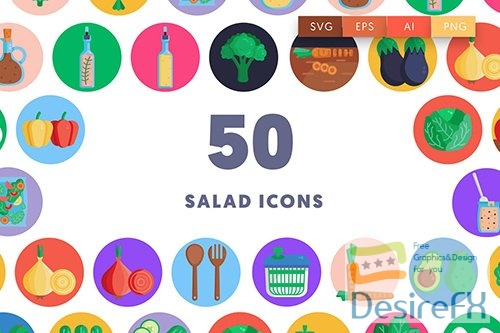 Vector 50 Salad Icons 35KUK7K