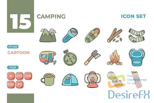 Vector Camping Icon Set (Cartoon Style) #01