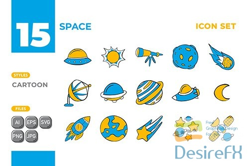Vector Space Icon Set (Cartoon Style) #01 2WJCFF2