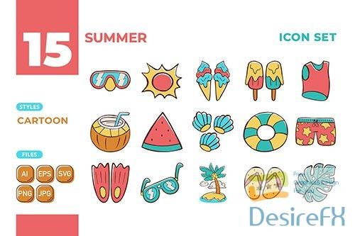Vector Summer Icon Set (Cartoon Style) #01 5NLFCZC