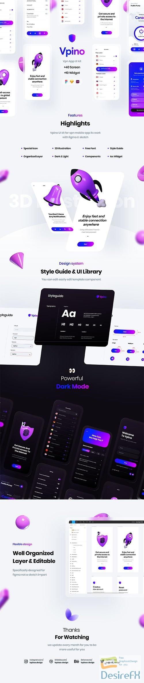 Vpino   Vpn app UI kit - UI8