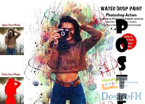 Water Drop Paint Photoshop Action - 6301814