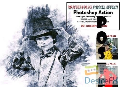 Watercolor Pencil Effect PS Action - 6298931