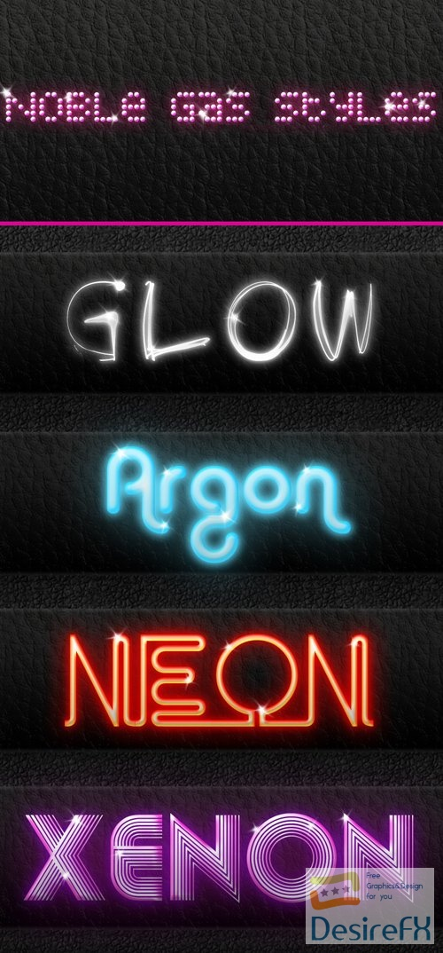 4 Noble Gas Photoshop Styles Collection