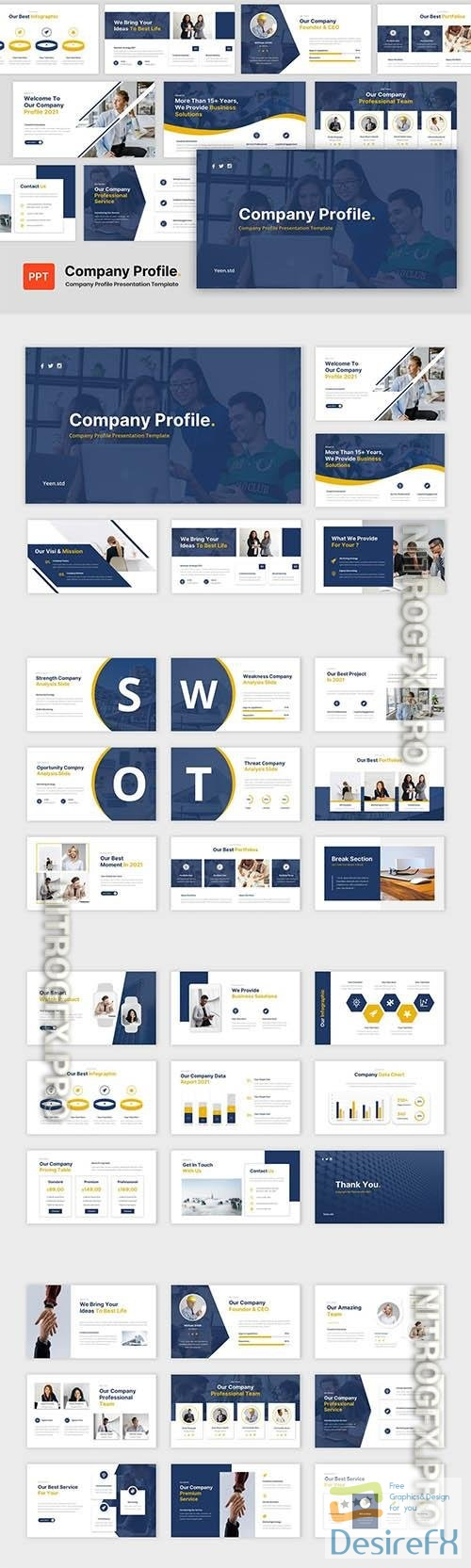 Company Profile - Business Powerpoint, Keynote and Google Slides Template