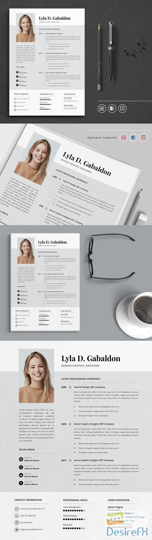 CV Resume Indesign Template + MS WORD Template