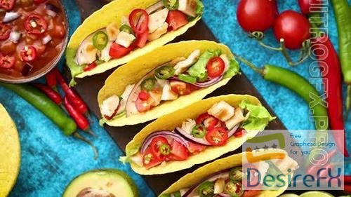 Mexican Taco with Chicken Meat Jalapeno Fresh Vegetables Served with Guacamole
