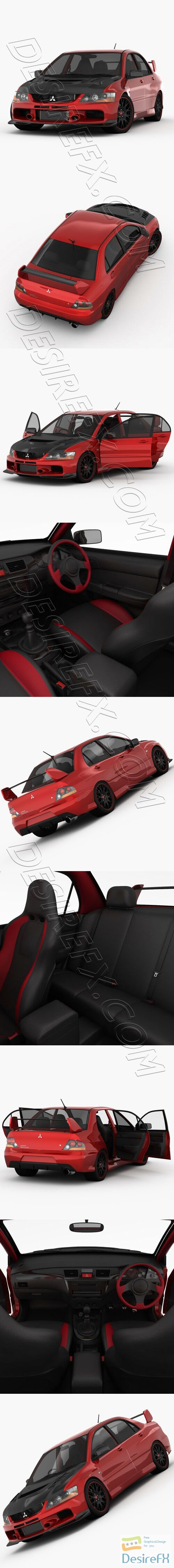 Mitsubishi Lancer Evo 9 Carbon 2007 3D Model