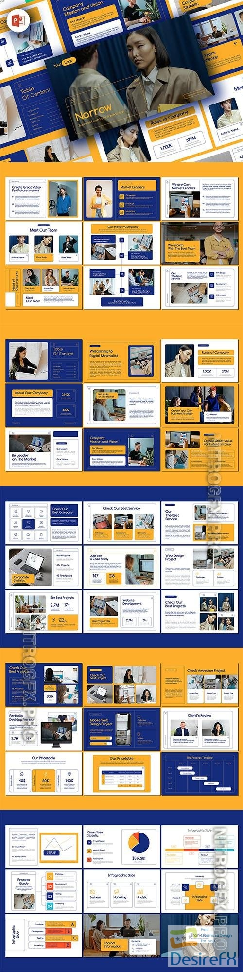 NARROW PowerPoint and Keynote Business Presentations