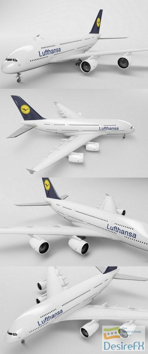 Lufthansa A380 3D Model