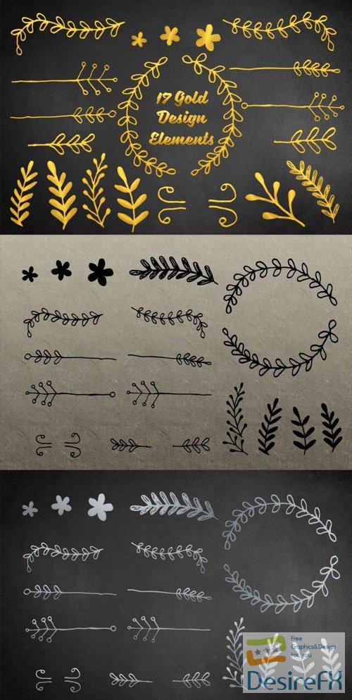 17 Gold Elements Vector Templates
