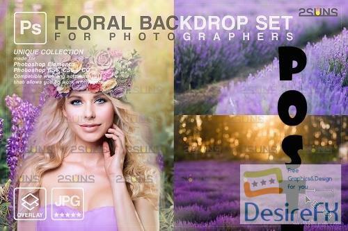 Blooming backdrop photoshop background floral portrait art V4 - 1447940