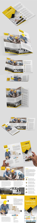 Construction Tri-fold Brochure PSD Template