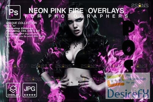 Fire background, Photoshop overlay, Burn overlays, Neon Pink Fire V1- 1447955