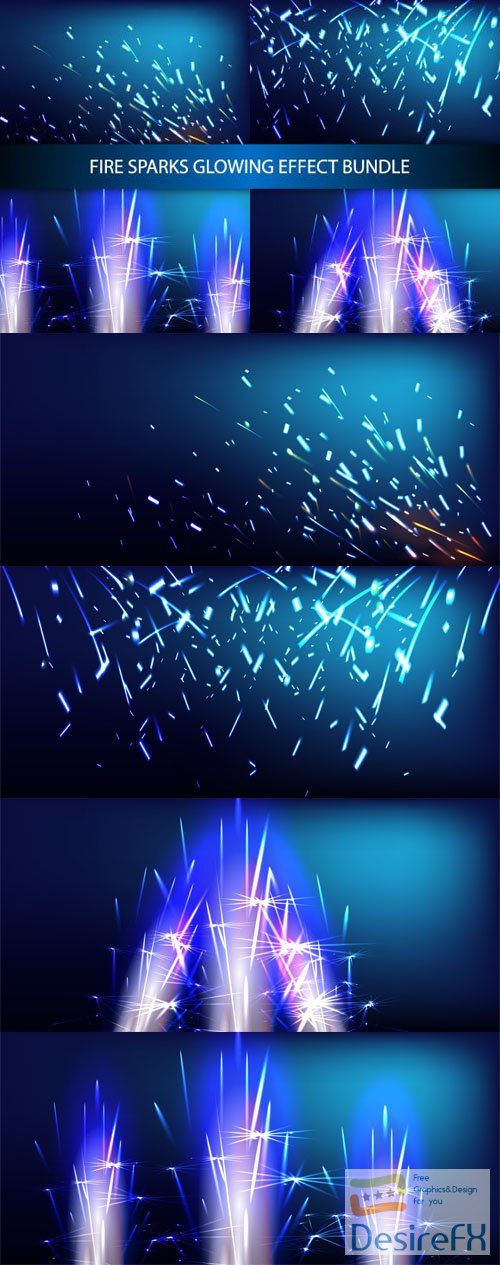 Glowing Fire Sparks Effects Backgrounds Vector Templates