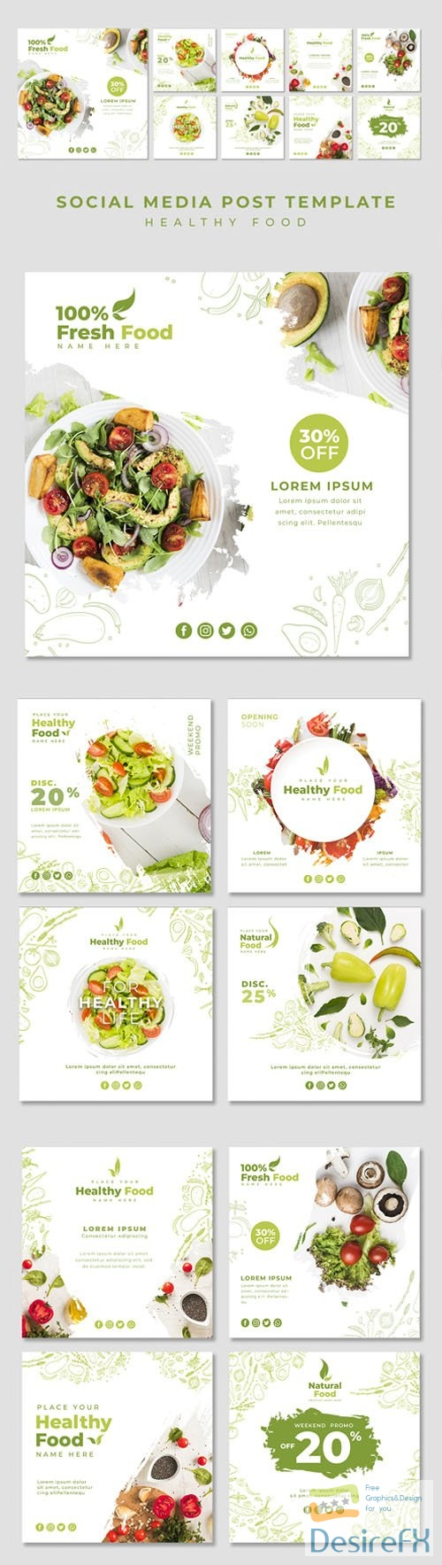 Healthy Food - Restaurant Social Media Post PSD Template