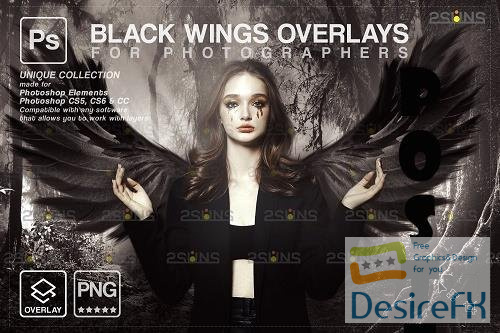 Realistic Black Angel Wings Photoshop Overlays V3 - 1583894