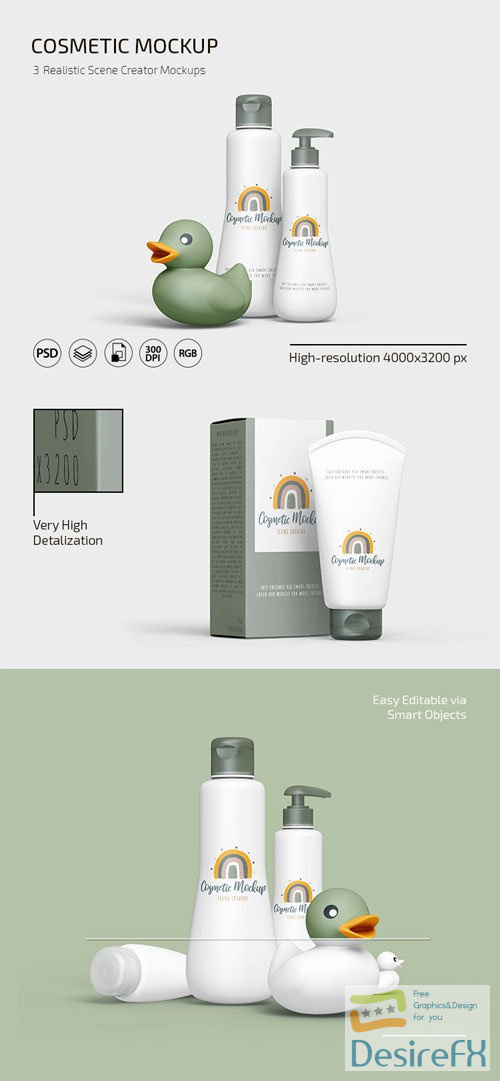Realistic Cosmetic Scene Creator PSD Mockups Templates