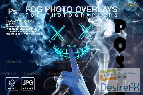 Smoke backgrounds, Fog overlays, Photoshop overlay V6 - 1447932