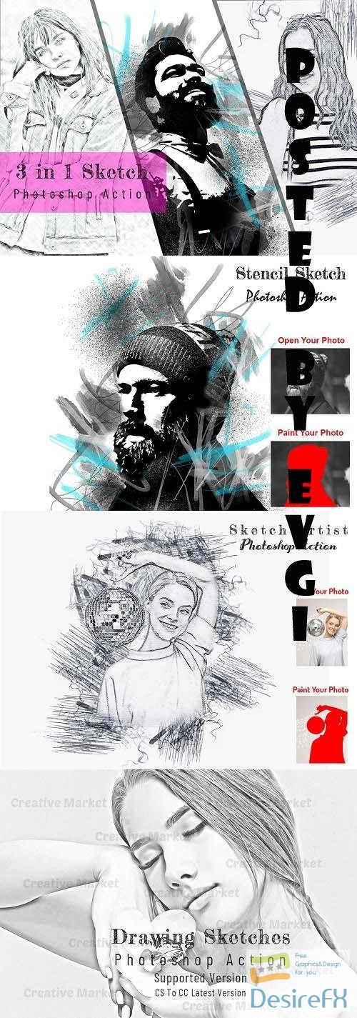 3 in 1 Sketch Photoshop Action - 6586193