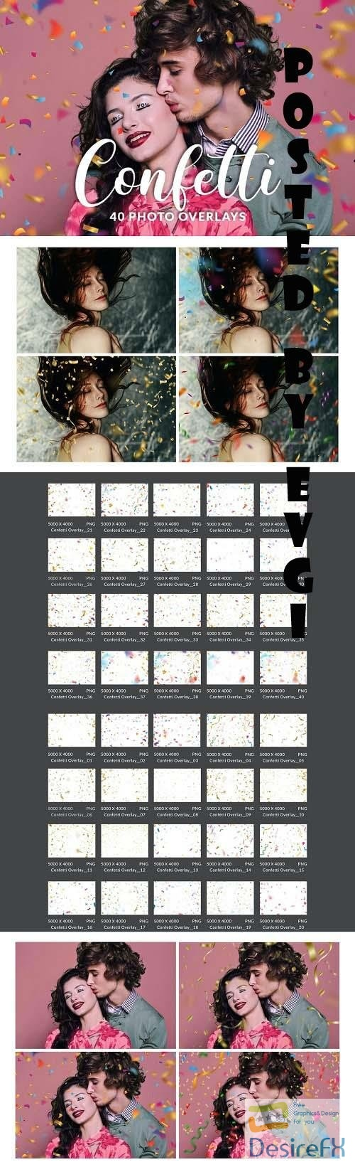 40 Realistic Confetti Overlays, PNG, Photoshop Action