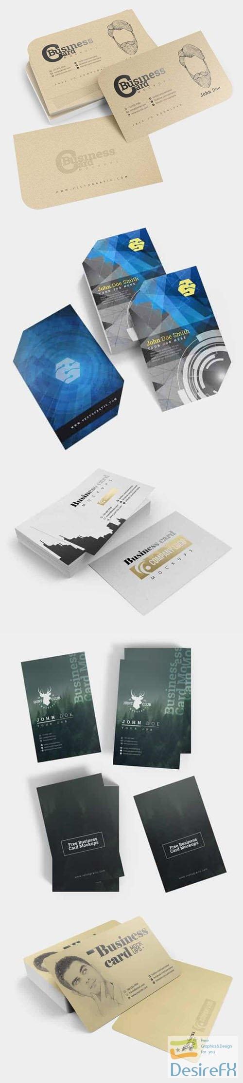 5 Various Business Cards PSD Mockups Templates