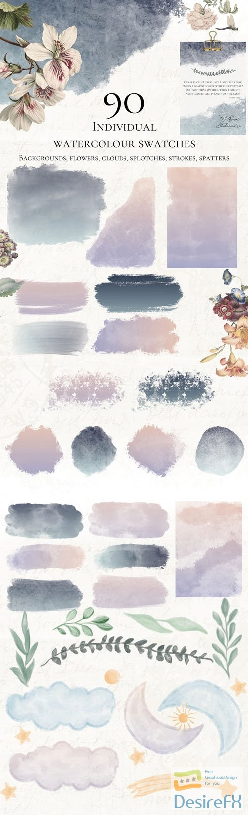 90 Watercolor Swatches Pack - Hi-Res Watercolor Paint Wash
