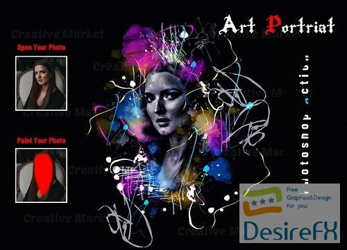Art Portrait Photoshop Action - 6569458