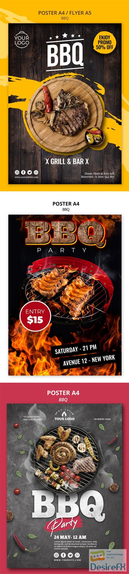 Barbeque BBQ Poster A4 / Flyer A5 PSD Templates