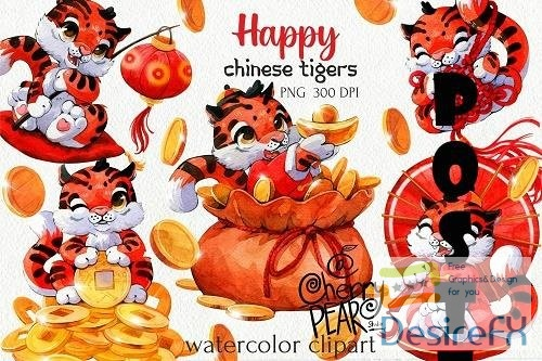 Chinese cute tiger clipart, Chinese New Year PNG - 1609229