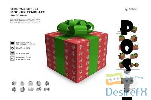 Christmas Gift Box 3D Mockup Template Bundle - 1627830