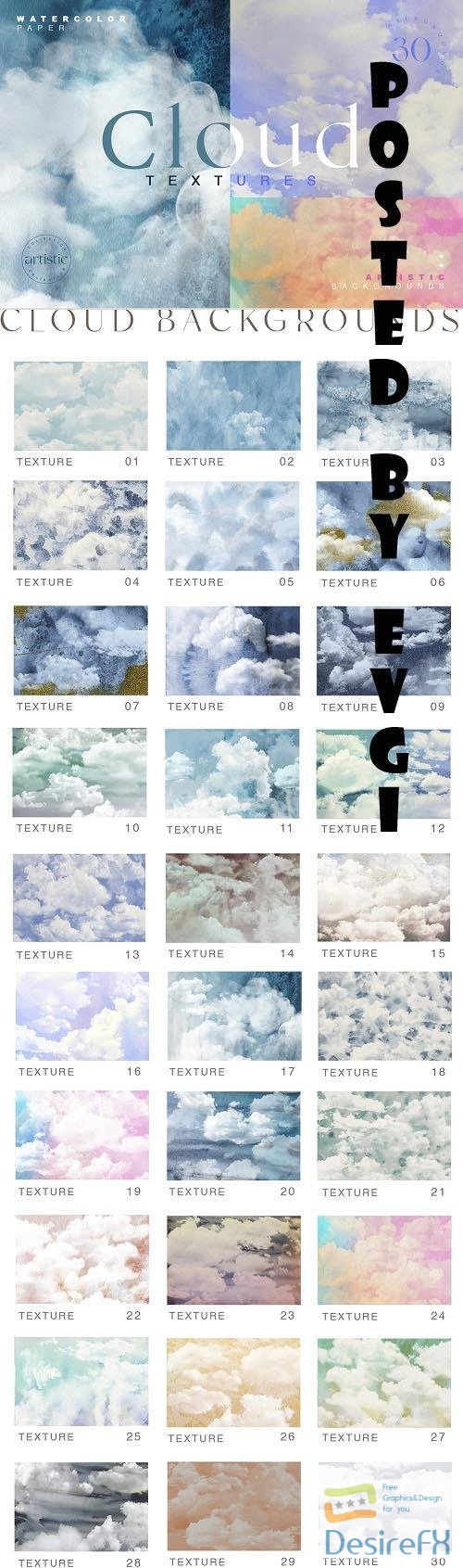 Cloudy Watercolor Abstract Textures - 6561479