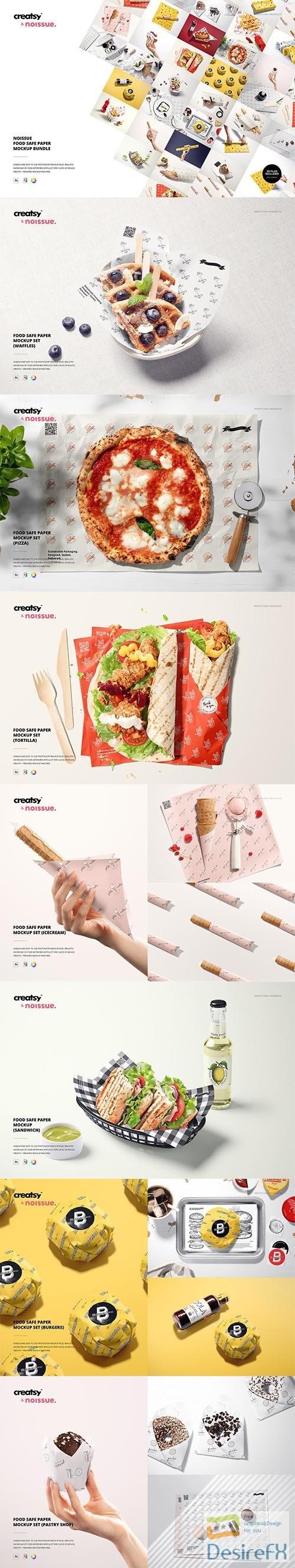 CreativeMarket - Noissue Food Safe Paper Mockup Bundl 6424610