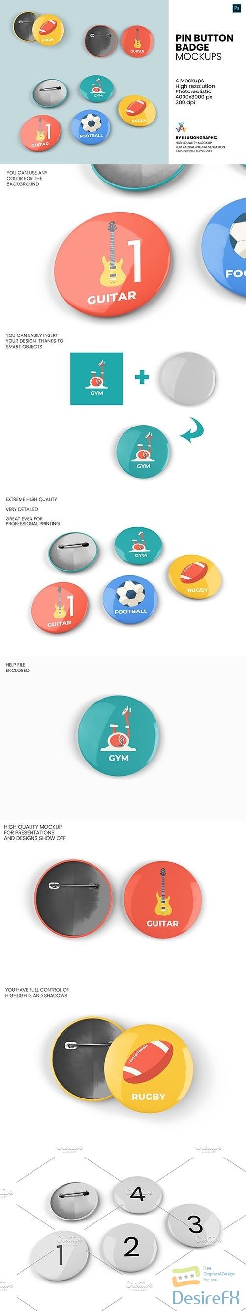 CreativeMarket - Pin Button Badge Mockup - 4 Views 5672634