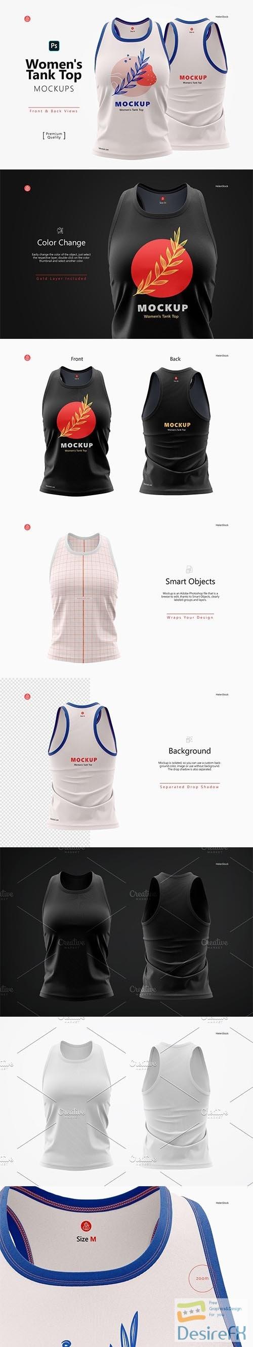 CreativeMarket - Women's Tank Top Mockups, Front Back 6529119