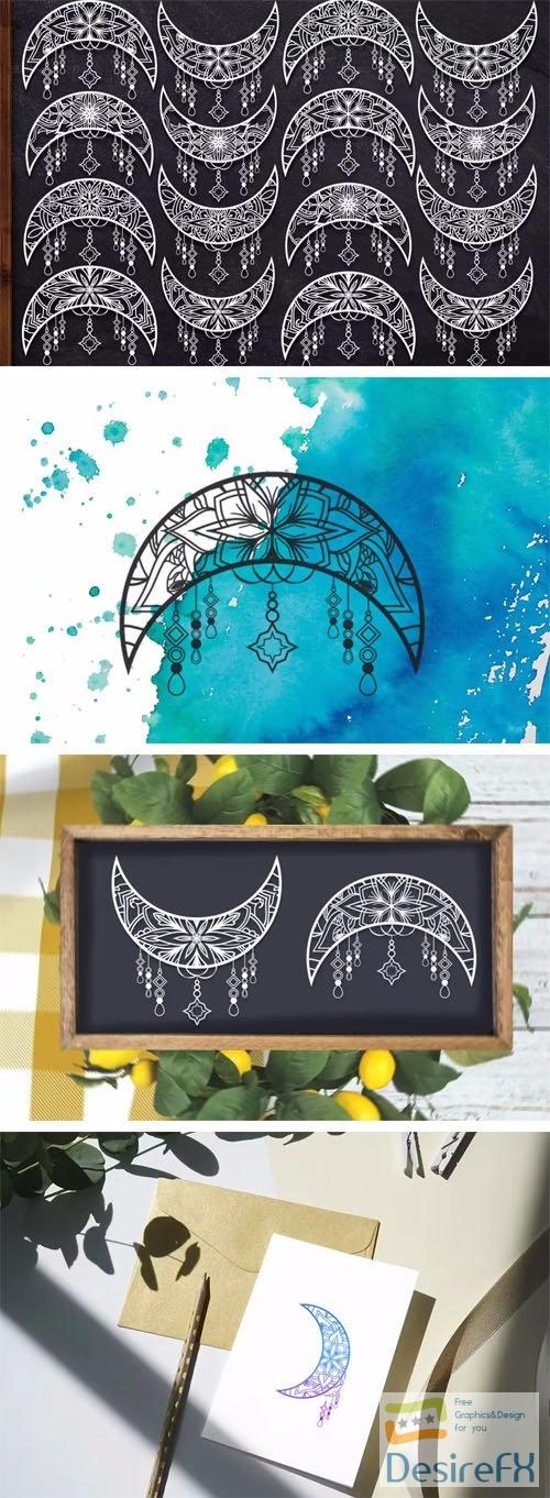 Crescent Moon Vector Ornaments - SVG Silhouette Cut Files
