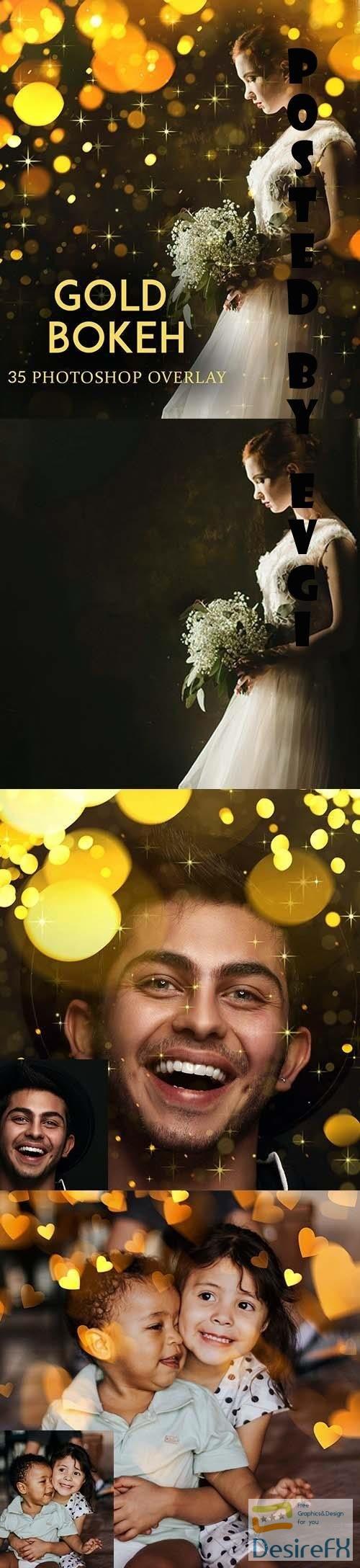 Gold Bokeh Photoshop Overlay Action - 32510865