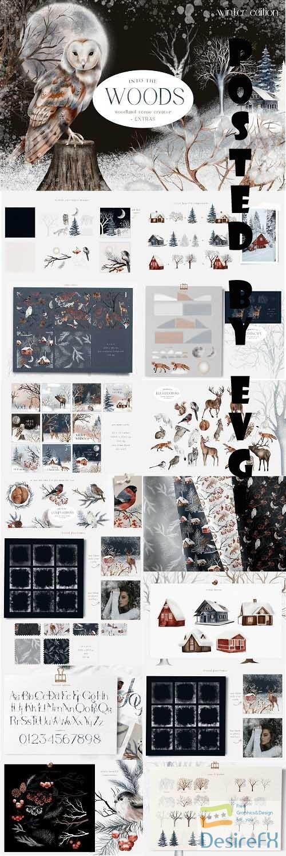 Huge Winter Woodland Scene Creator Seamless Patterns PNG - 1630541