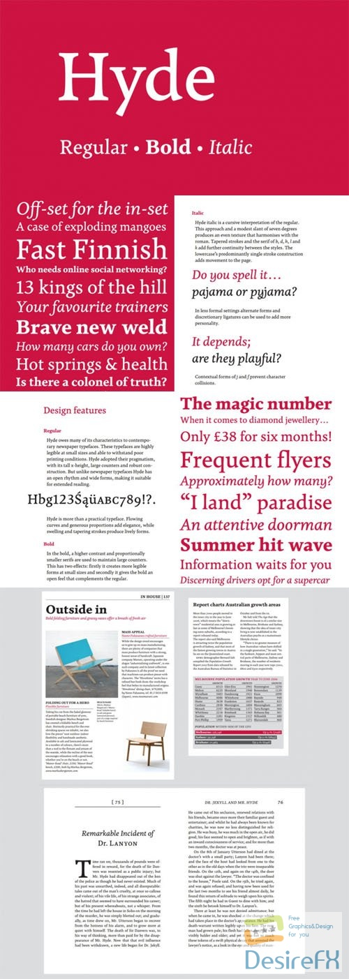 Hyde Serif Typeface for Magazines and Books