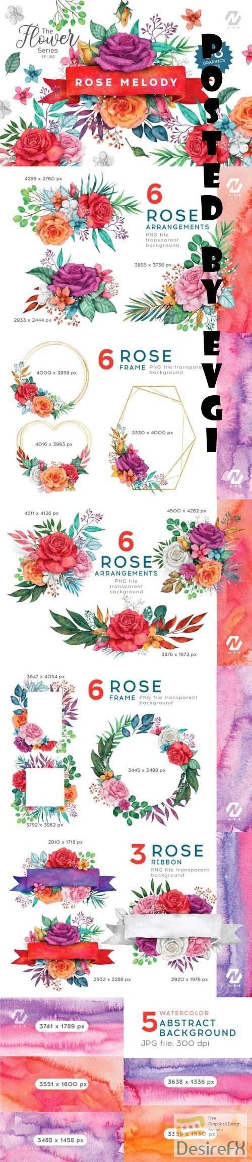 Rose Flower Watercolor Colorful Arts