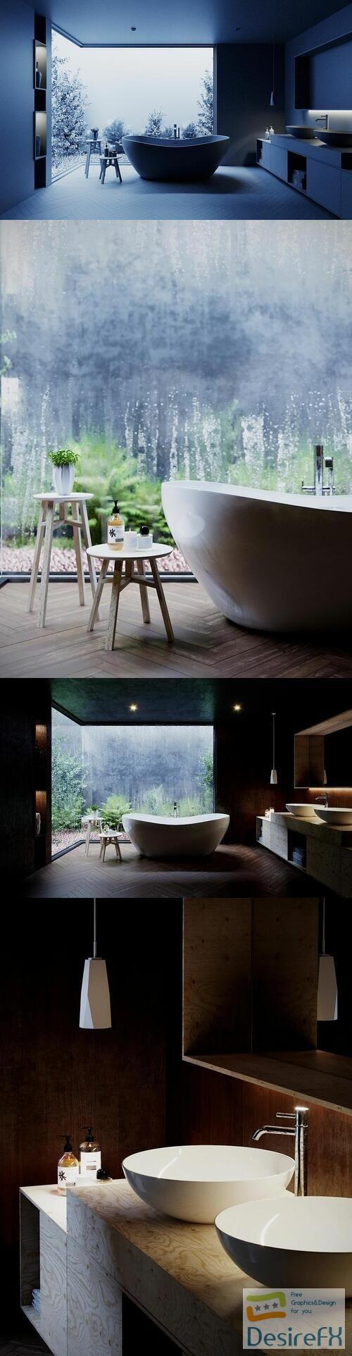 Tropical Bathroom - Cinema 4D Corona Renderer 3D Model
