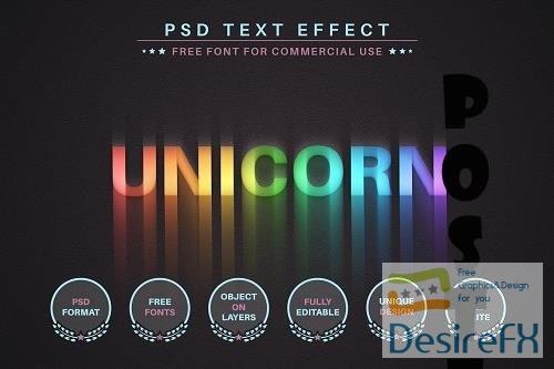 Unicorn Rainbow - PSD Editable Text - 6581113