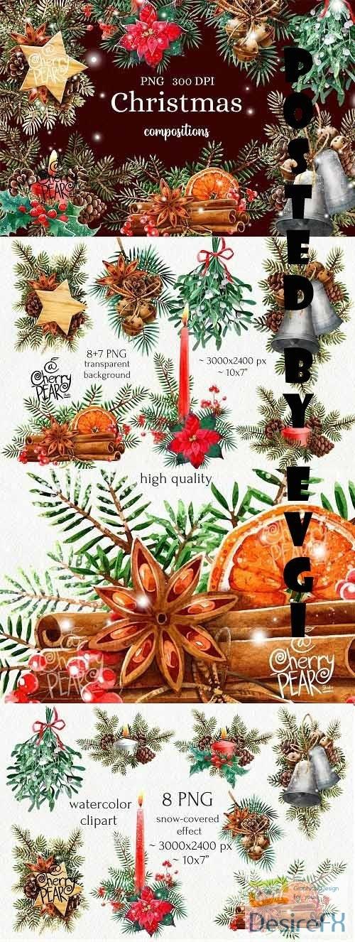 Watercolor Christmas Clipart, Christmas composition Clip art - 1629025