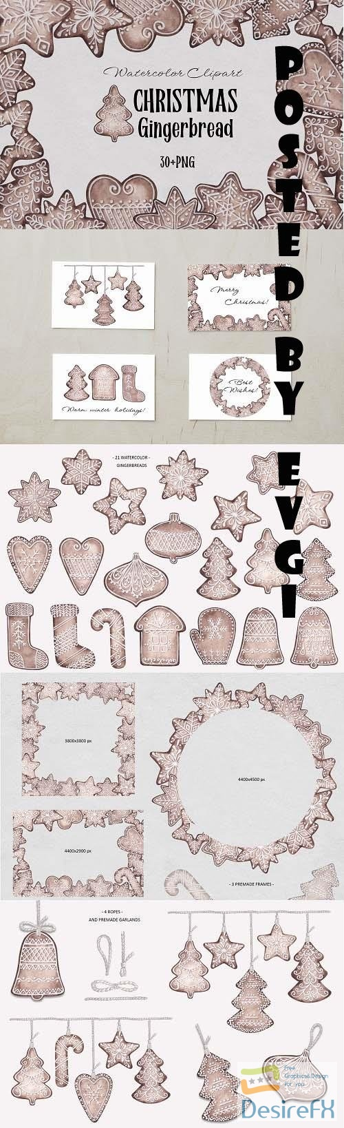 Watercolor Clipart Christmas Gingerbread - 1631337