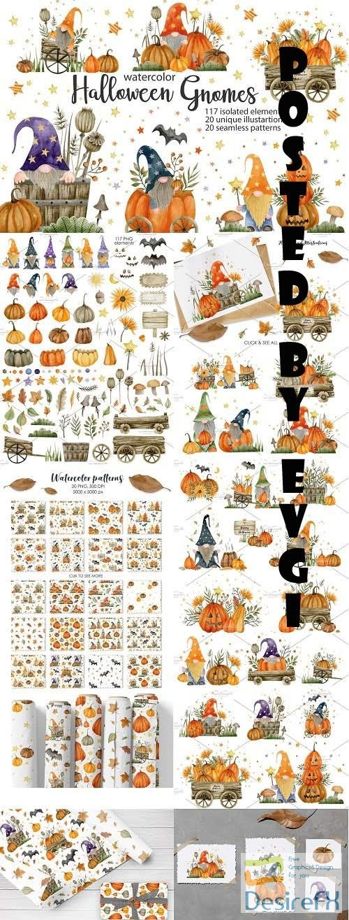 Watercolor Gnomes Halloween - 6439335